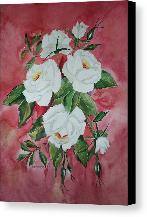 Roses Flowers Canvas Print featuring the painting White Roses by Irenemaria Amoroso