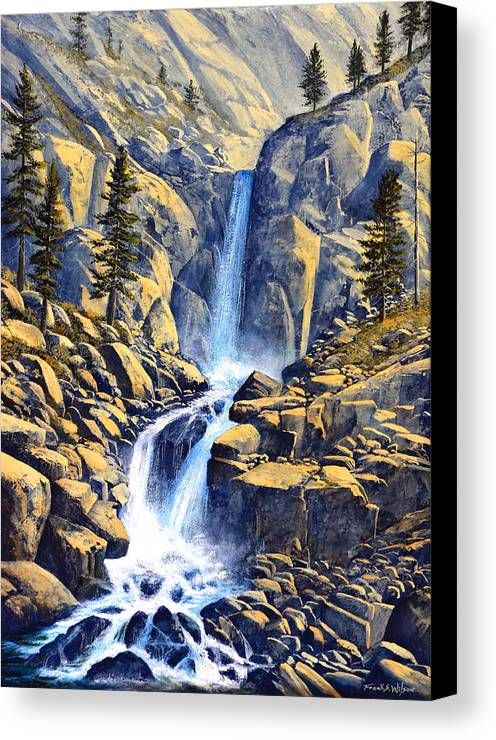 Wilderness Waterfall Canvas Print featuring the painting Wilderness Waterfall by Frank Wilson