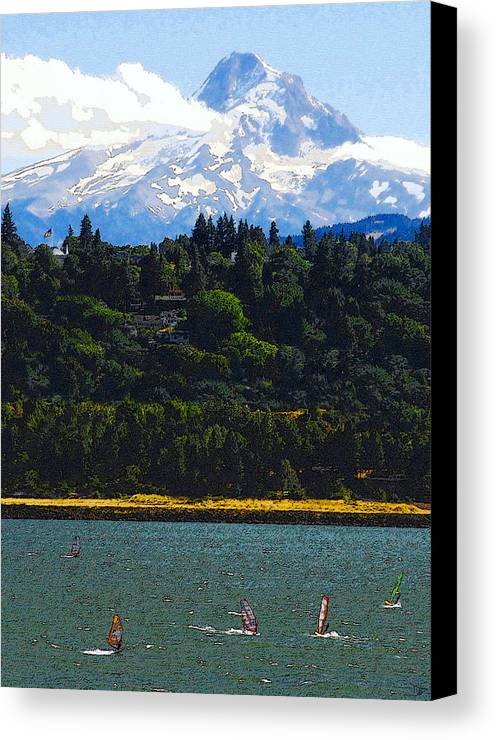 Art Canvas Print featuring the painting Wind Surfing Mt. Hood by David Lee Thompson