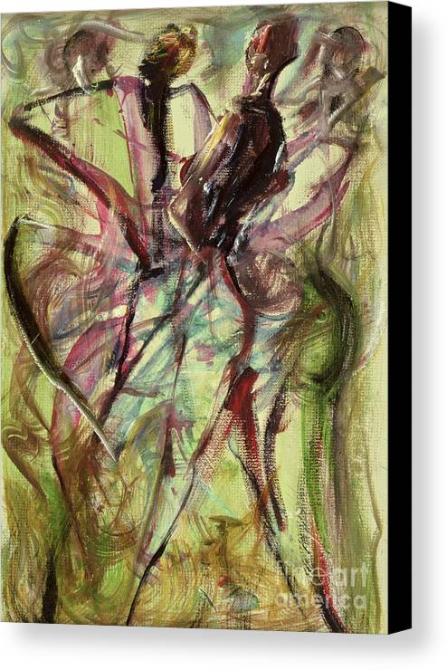 Female Canvas Print featuring the painting Windy Day by Ikahl Beckford
