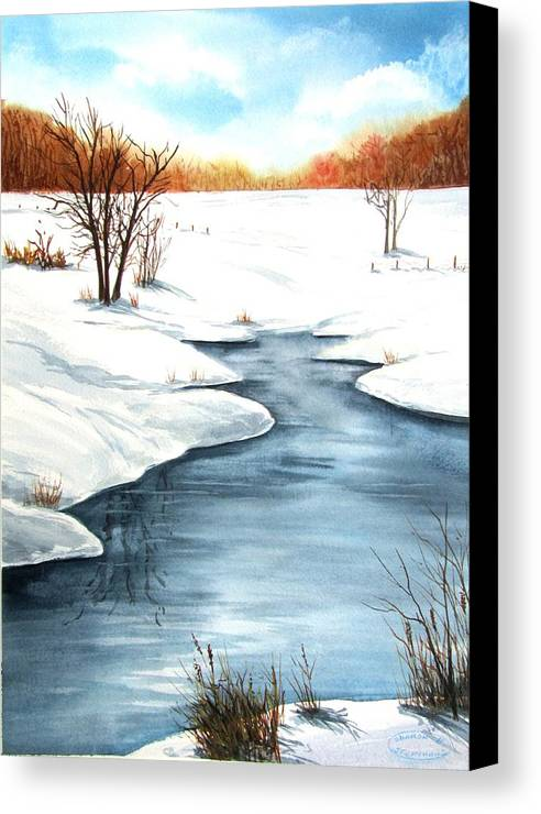Original Watercolour Canvas Print featuring the painting Winter Memories by Sharon Steinhaus