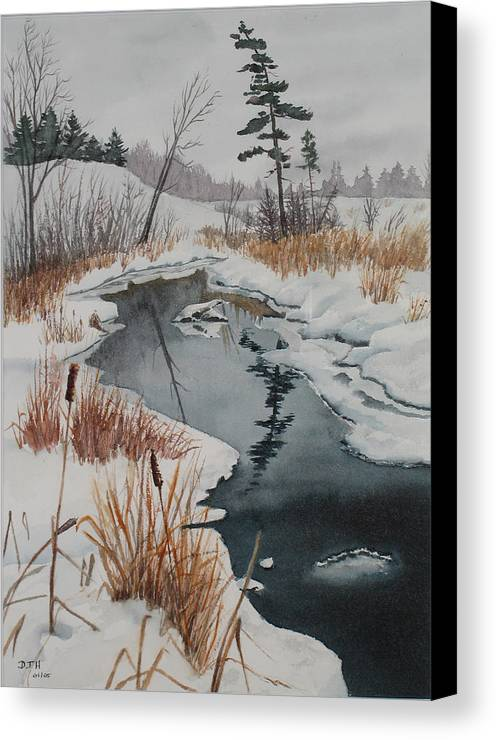 Winter Canvas Print featuring the painting Winter Reflection by Debbie Homewood