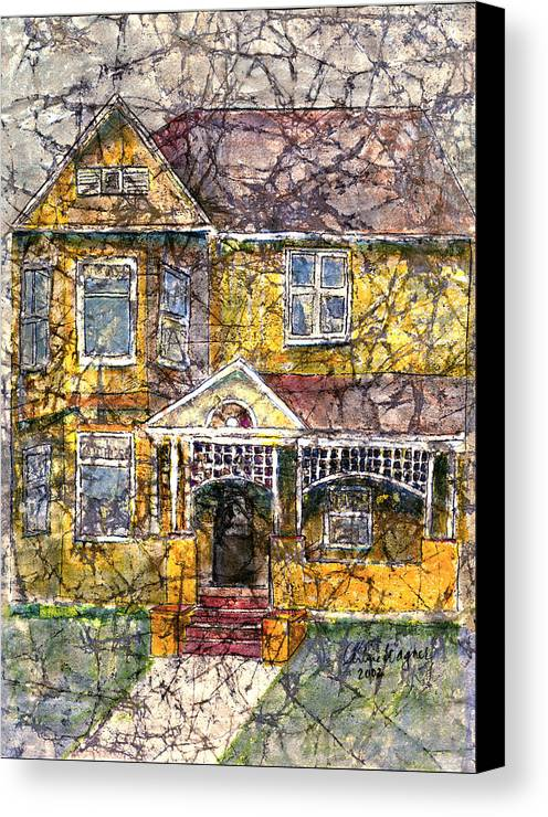 House Canvas Print featuring the mixed media Yellow Batik House by Arline Wagner