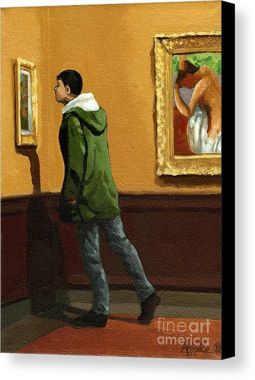 Artwork Canvas Print featuring the painting Young Man Viewing Art - Painting by Linda Apple