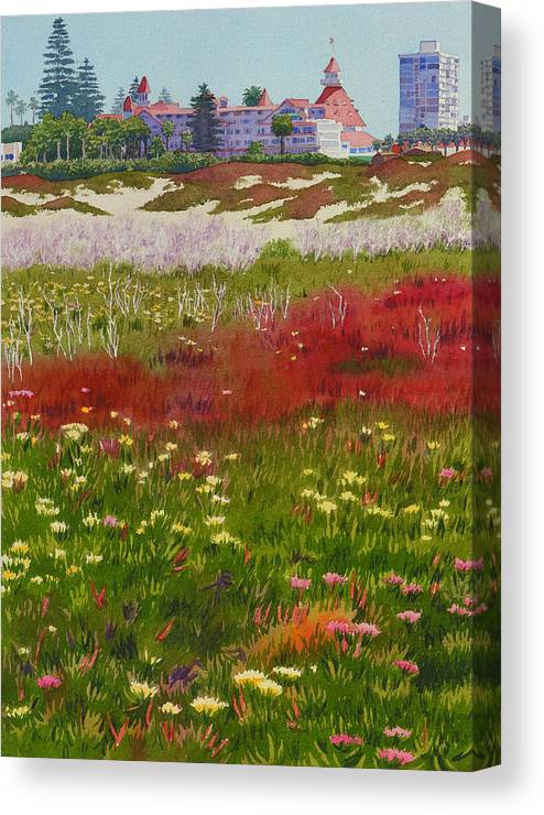 Landscape Canvas Print featuring the painting Beach Flowers At The Del by Mary Helmreich