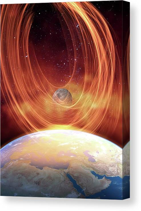 Illustration Canvas Print featuring the photograph Solar Flare Hitting Earth by Victor Habbick Visions/science Photo Library