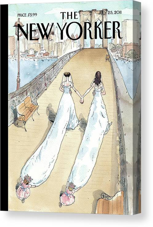 Bride Canvas Print featuring the painting New Yorker July 25th, 2011 by Barry Blitt