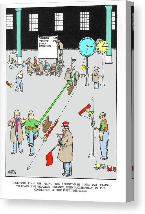 Nobody Canvas Print featuring the photograph Cartoon By W. Heath Robinson by Adam Hart-davis/science Photo Library