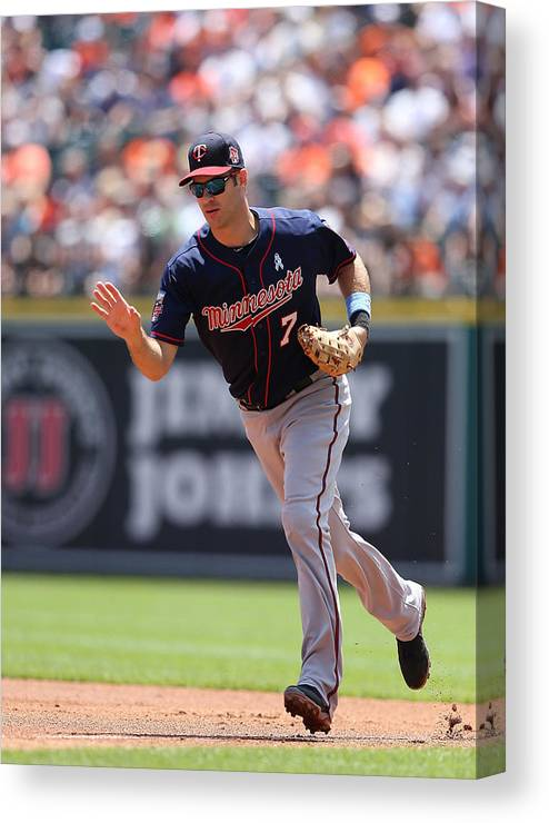 Joe Mauer Canvas Print featuring the photograph Minnesota Twins V Detroit Tigers 9 by Leon Halip