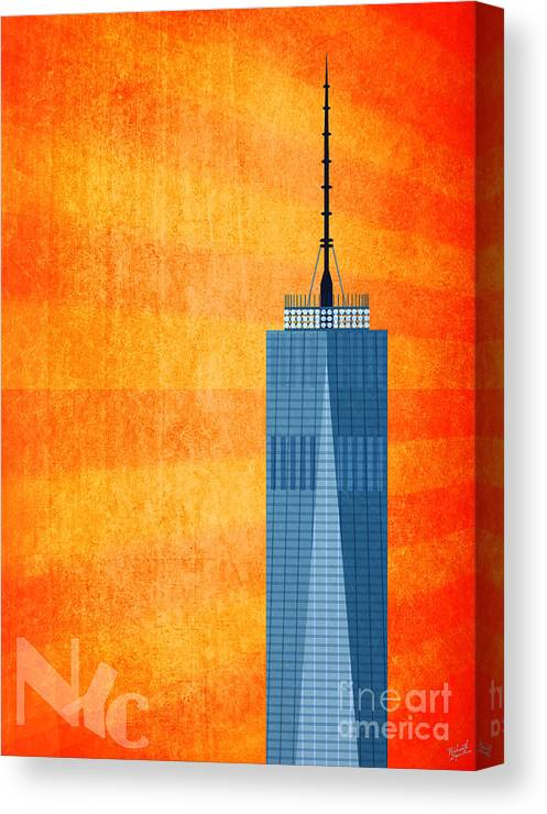 World Trade Center Illustration Canvas Print featuring the digital art A New Day - World Trade Center One by Nishanth Gopinathan