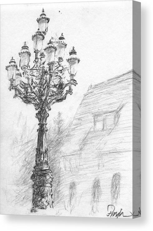 Charcoal Canvas Print featuring the drawing Antique Lampost by Horacio Prada