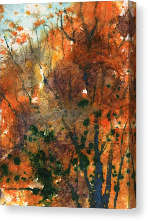 Nature Canvas Print featuring the painting Batik Style/new England Fall-scape No.34 by Sumiyo Toribe