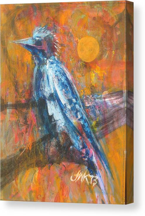 Bird Abstract With Face Canvas Print featuring the painting Blue Jay by J W Kelly