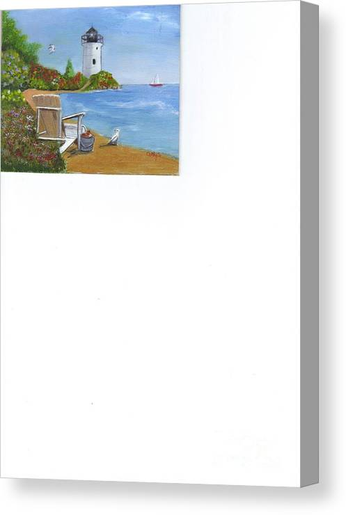 Seascapes. Lighthouses Canvas Print featuring the painting By The Shore by Catherine Swerediuk