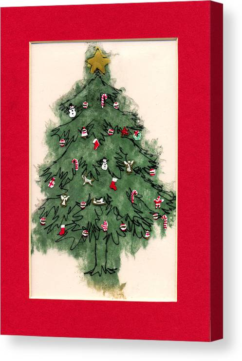 Christmas Paintings Canvas Print featuring the painting Christmas Tree With Red Mat by Mary Helmreich