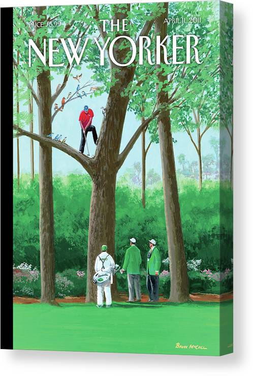 Golf Canvas Print featuring the painting Golfer Making A Shot In A Tree While Different by Bruce McCall