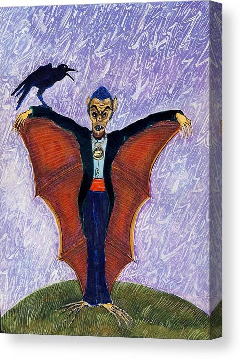 Halloween Funny Batcula With Crow Canvas Print Canvas Art By Ion