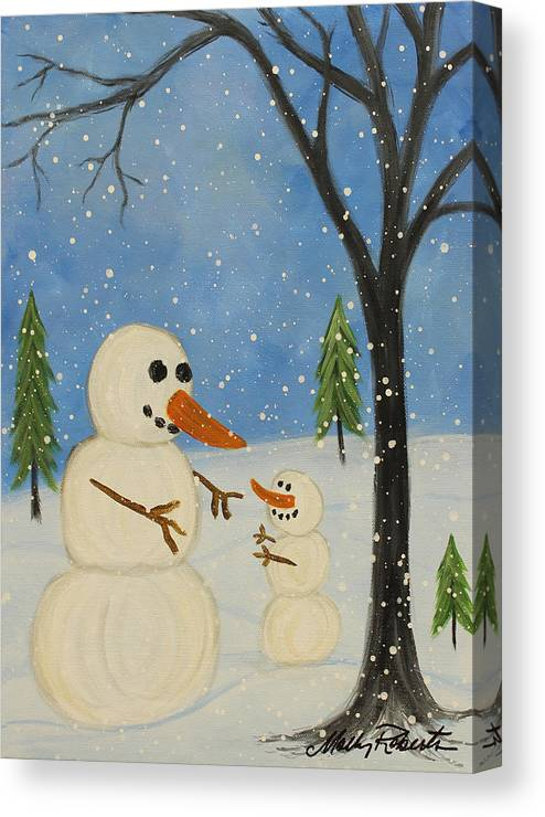 Snowman Canvas Print featuring the painting Hold Me I'm Cold by Molly Roberts