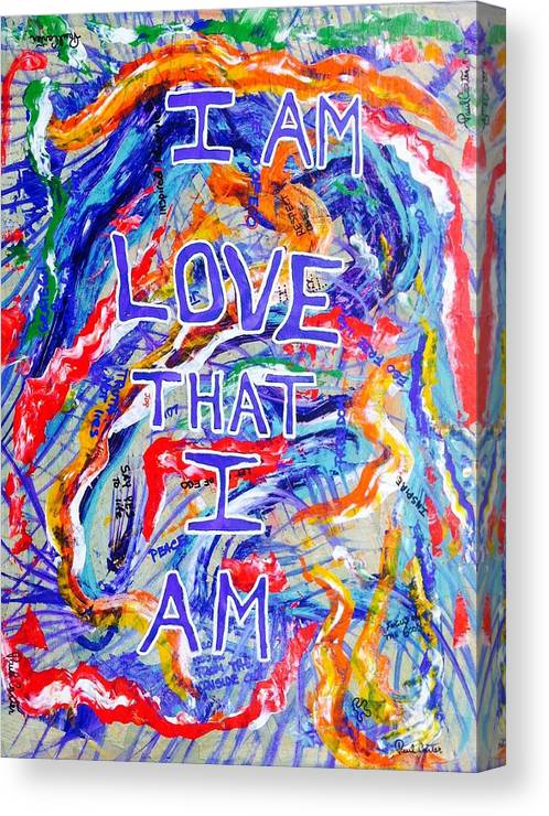 Abstractprints Canvas Print featuring the painting I Am Love by Paul Carter