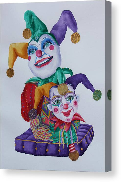 Jesters Canvas Print featuring the painting Jesters On Bourbon Street by Rhonda Leonard