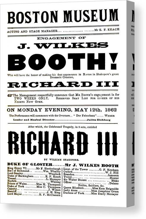 William Canvas Print featuring the mixed media John Wilkes Booth Playbill by Charlie Ross