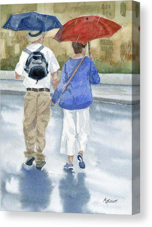Rome Canvas Print featuring the painting Just Walkin In The Rain by Marsha Elliott