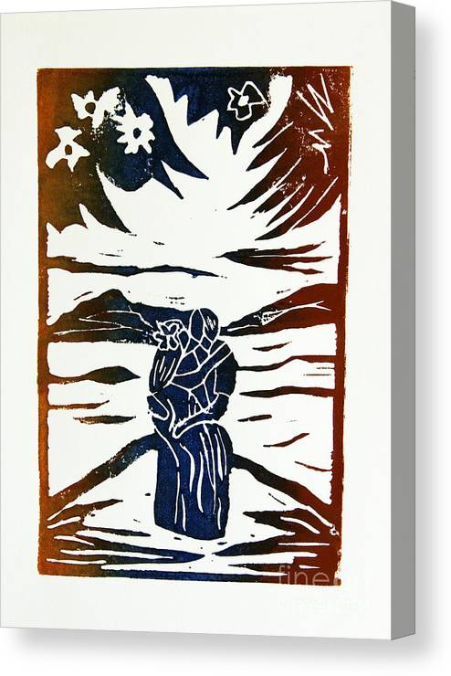 Lino Cut Canvas Print featuring the drawing Lovers - Lino Cut A La Gauguin by Christiane Schulze Art And Photography