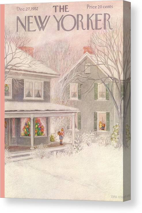 Suburb Country Outdoors Community Town Small Suburban Quaint Village House Home Property Lawn Yard Christmas Xmas Holiday Canvas Print featuring the painting New Yorker December 27th, 1952 by Edna Eicke