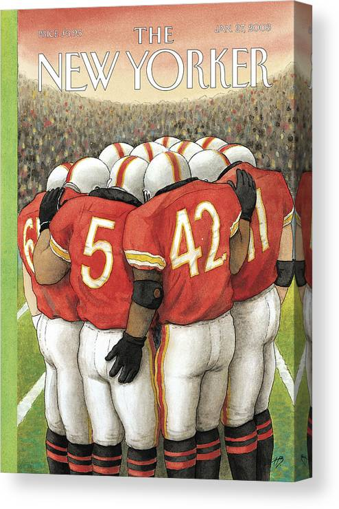 Football Sports Team Players Gay Homosexual Super Bowl Male Men Arena Stadium Harry Bliss Hbl Hbl Artkey 65962 Canvas Print featuring the painting New Yorker January 27th, 2003 by Harry Bliss
