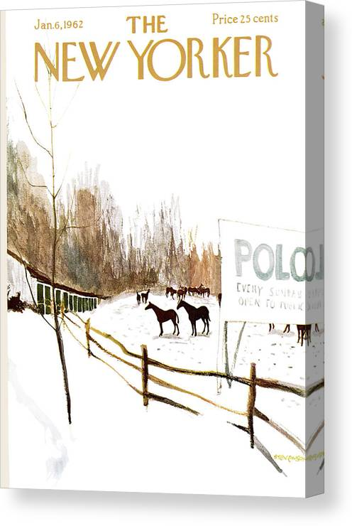 Suburb Country Outdoors Community Town Small Suburban Quaint Village Sport Sports Horse Horses Polo Snow Winter Snowing Jst James Stevenson Sumnerok James Stevenson Jst Artkey 49692 Canvas Print featuring the painting New Yorker January 6th, 1962 by James Stevenson