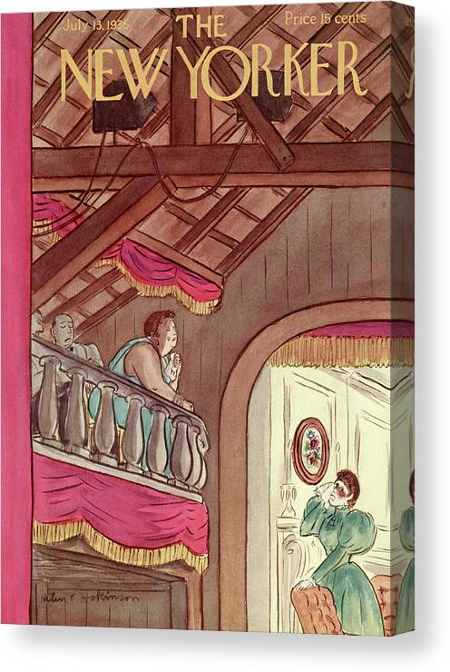 Theater Play Broadway Actor Actress Player Set Stage Playhouse Hall Entertainment Balcony Tear Tears Emotion Emotional Cry Sad Moving Touching Performance Helen E. Hokinson Hho Artkey 48459 Canvas Print featuring the painting New Yorker July 13th, 1935 by Helen E. Hokinson
