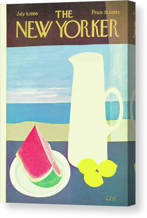 (an Image Of A Pitcher With Lemons Beside It Canvas Print featuring the painting New Yorker July 9th, 1966 by Charles E. Martin