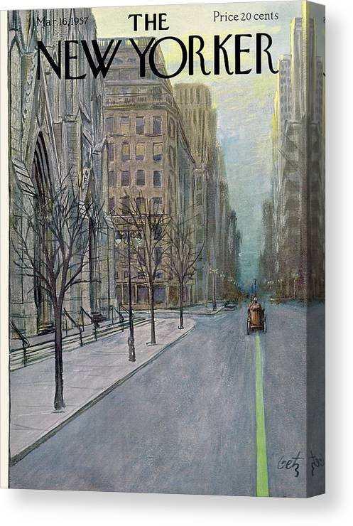Urban Canvas Print featuring the painting New Yorker March 16th, 1957 by Arthur Getz