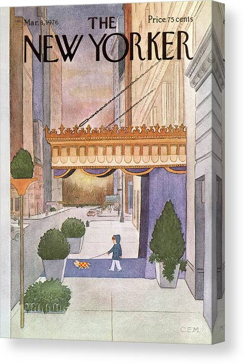 Upper East Side Canvas Print featuring the painting New Yorker March 8th, 1976 by Charles E Martin