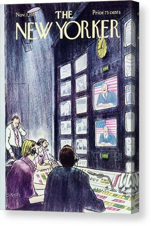 Illustration Canvas Print featuring the painting New Yorker November 1st 1976 by Charles D Saxon