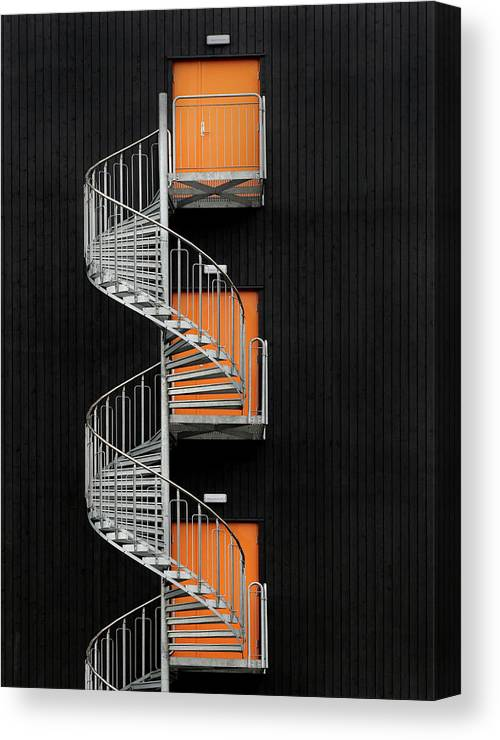 Stairwell Canvas Print featuring the photograph Northernmost Spiral Staircase by Hans-wolfgang Hawerkamp