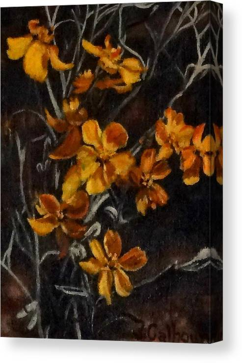Paintings Canvas Print featuring the painting Paper Flowers by Jennifer Calhoun