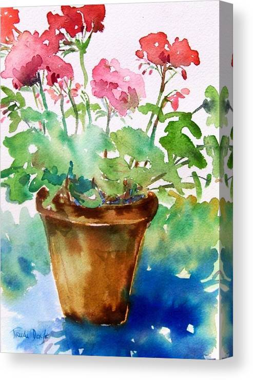 Geranium Canvas Print featuring the painting Red Pelargonium by Trudi Doyle