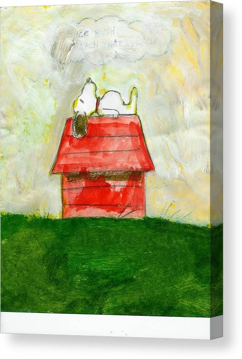 Snoopy Canvas Print featuring the painting Snoopy Asleep On Red Doghouse by David Lovins