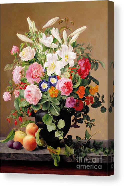 Peony Canvas Print featuring the painting Still Life With Flowers And Fruit by V Hoier