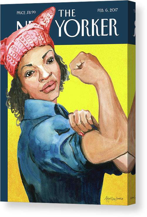 Pussy Hat Canvas Print featuring the painting The March by Abigail Gray Swartz