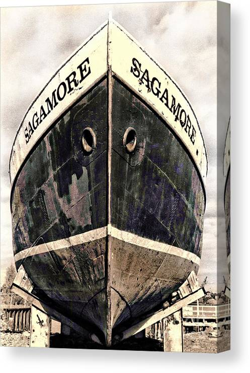 Boat Canvas Print featuring the photograph The Sagamore Dry Dock by Deena Athans