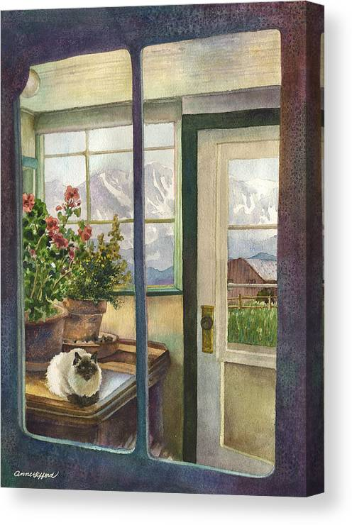 Window Painting Canvas Print featuring the painting Windows To The World by Anne Gifford