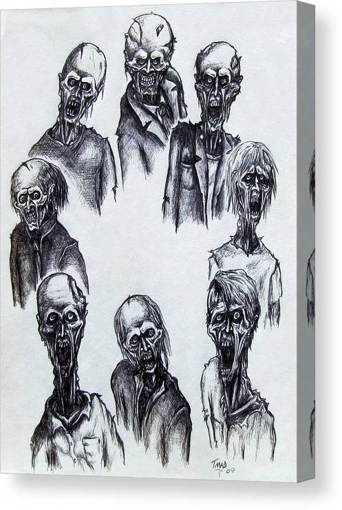 Michael Canvas Print featuring the drawing Zombies by Michael TMAD Finney