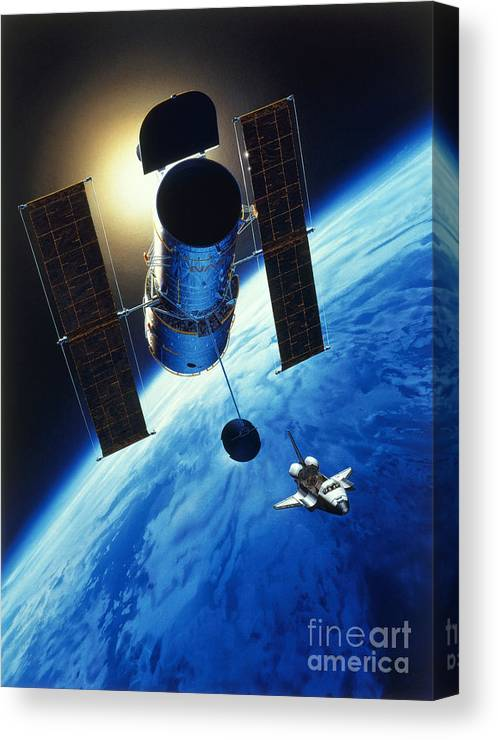 Art Canvas Print featuring the photograph Art Of Space Telescope In Orbit by Nasa