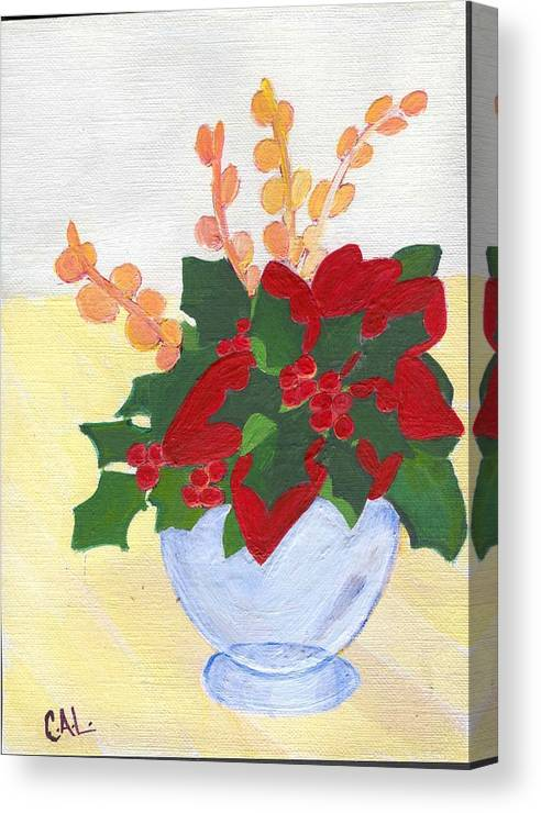 Christmas Canvas Print featuring the painting Christmas Poinsetta by Carol Lunsford