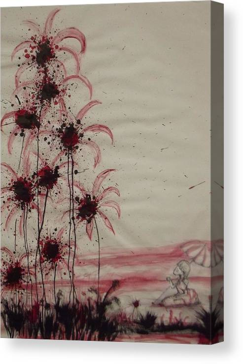 Surrealism Canvas Print featuring the mixed media Tea In Red And Black by Matthew Wright