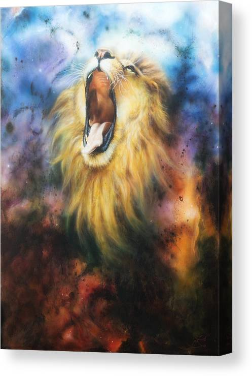 Airbrush Painting Of A Mighty Roarimajestic Lion Male With Golden Mane Illustration In Abstract Col Canvas Print