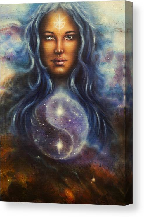 Art Canvas Print featuring the painting Painting On Canvas Of A Space Woman Goddess Lada As A Mighty Loving Guardian With Symbol Jin Jang by Jozef Klopacka