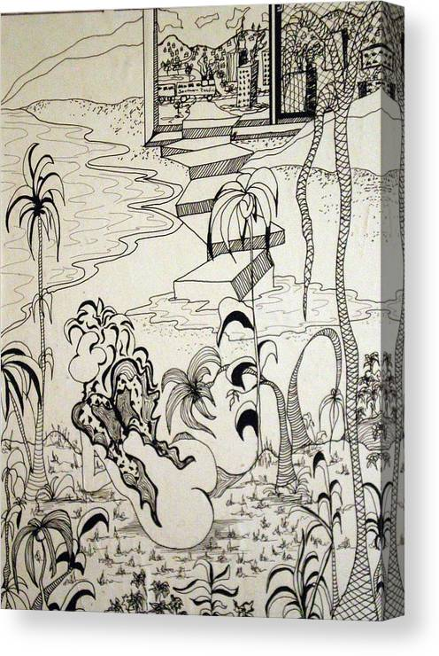 Woman Canvas Print featuring the drawing Flight From The City by Tammera Malicki-Wong